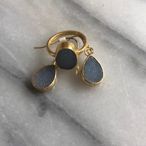 Sparkly Druzy Size 8 Ring and Earrings